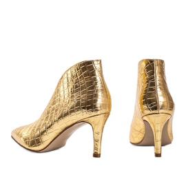 Złote wsuwane botki wzorowane na skórę węża Isabel złoty 1