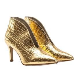 Złote wsuwane botki wzorowane na skórę węża Isabel złoty 2