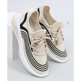Buty sportowe skarpetkowe beżowe 3436 Beige beżowy 1