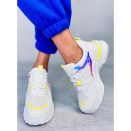 Buty sportowe damskie biało-żółte HX-68 Yellow białe wielokolorowe 3