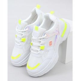 Buty sportowe damskie biało-żółte HX-68 Yellow białe wielokolorowe 1