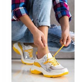 Goodin Skórzane Sneakersy Ze Srebrnymi Wstawkami białe wielokolorowe 1
