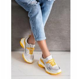 Goodin Skórzane Sneakersy Ze Srebrnymi Wstawkami białe wielokolorowe 2