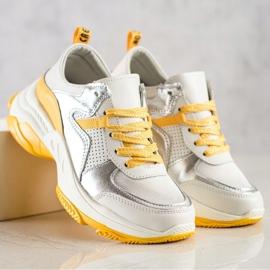 Goodin Skórzane Sneakersy Ze Srebrnymi Wstawkami białe wielokolorowe 3