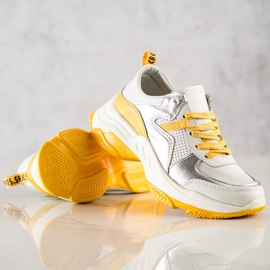 Goodin Skórzane Sneakersy Ze Srebrnymi Wstawkami białe wielokolorowe 4