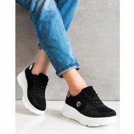 Filippo Skórzane Sneakersy Na Platformie czarne 2