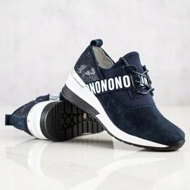 Filippo Skórzane Sneakersy Na Koturnie granatowe 1