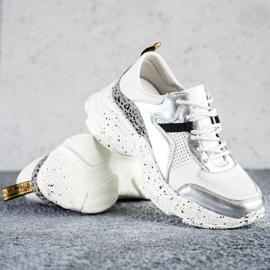 Goodin Skórzane Sneakersy Ze Srebrnymi Wstawkami białe szare wielokolorowe 3