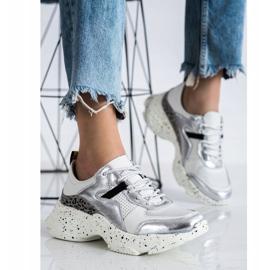 Goodin Skórzane Sneakersy Ze Srebrnymi Wstawkami białe szare wielokolorowe 1