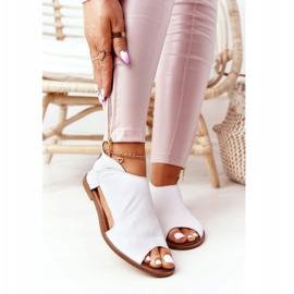 Damskie Skórzane Sandały Nicole 2622 Białe 2