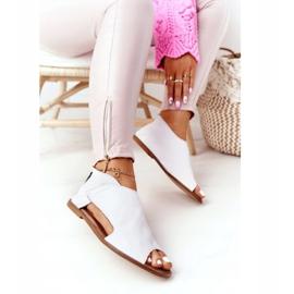 Damskie Skórzane Sandały Nicole 2622 Białe 3