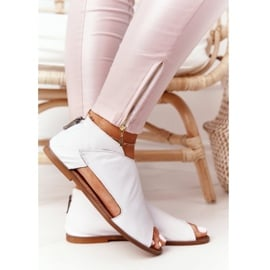 Damskie Skórzane Sandały Nicole 2622 Białe 1
