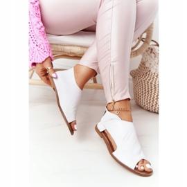 Damskie Skórzane Sandały Nicole 2622 Białe 4