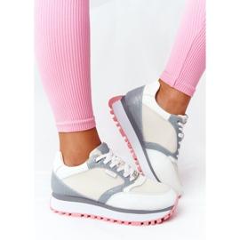 Skórzane Sportowe Buty Na Platformie GOE HH2N4008 Białe wielokolorowe 2