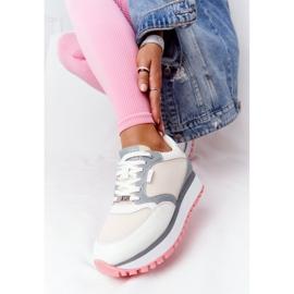 Skórzane Sportowe Buty Na Platformie GOE HH2N4008 Białe wielokolorowe 5