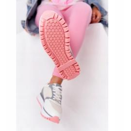Skórzane Sportowe Buty Na Platformie GOE HH2N4008 Białe wielokolorowe 1
