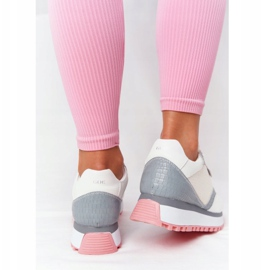 Skórzane Sportowe Buty Na Platformie GOE HH2N4008 Białe wielokolorowe 3