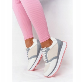 Skórzane Sportowe Buty Na Platformie GOE HH2N4008 Białe wielokolorowe 4