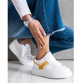 SHELOVET Casualowe Sneakersy Z Eko Skóry białe żółte 2