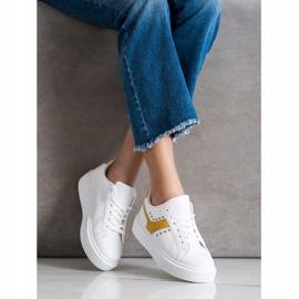 SHELOVET Casualowe Sneakersy Z Eko Skóry białe żółte 1