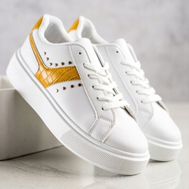 SHELOVET Casualowe Sneakersy Z Eko Skóry białe żółte 3