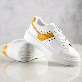 SHELOVET Casualowe Sneakersy Z Eko Skóry białe żółte 4