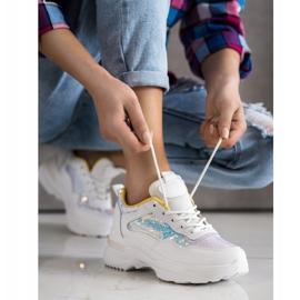 SHELOVET Sneakersy Z Cekinami białe 3
