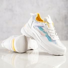 SHELOVET Sneakersy Z Cekinami białe 1