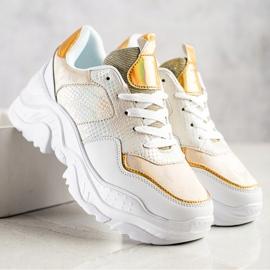 Weide Sneakersy Z Eko Skóry Snake Print białe złoty 1