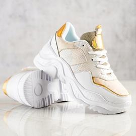 Weide Sneakersy Z Eko Skóry Snake Print białe złoty 4