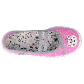 Balerinki Befado obuwie dziecięce  116X284 różowe srebrny szare 2
