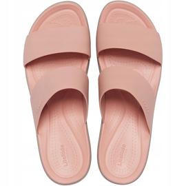 Crocs klapki damskie Brooklyn Mid Wedge różowo-beżowe 206219 6RL różowe 1