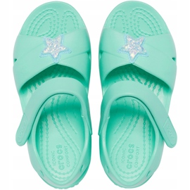 Crocs sandały dla dzieci Classic Cross Strap Charm miętowe 206947 3U3 zielone 1