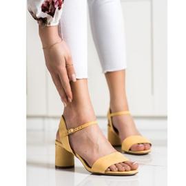 Evento Stylowe Sandały Na Słupku żółte 1
