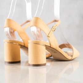 Evento Stylowe Sandały Na Słupku żółte 2