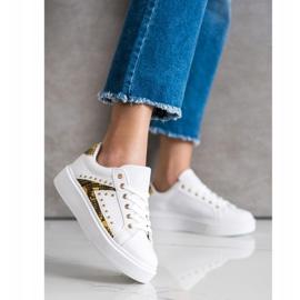 SHELOVET Białe Sneakersy Na Platformie czarne żółte 1