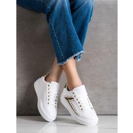 SHELOVET Białe Sneakersy Na Platformie czarne żółte 2
