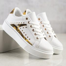 SHELOVET Białe Sneakersy Na Platformie czarne żółte 3