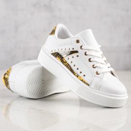 SHELOVET Białe Sneakersy Na Platformie czarne żółte 4