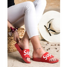 Seastar Gumowe Klapki Super białe czerwone 3