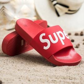 Seastar Gumowe Klapki Super białe czerwone 1