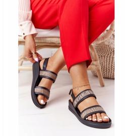 Skórzane Sandały Na Koturnie Laura Messi 2232 Czarne beżowy 2
