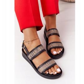 Skórzane Sandały Na Koturnie Laura Messi 2232 Czarne beżowy 4