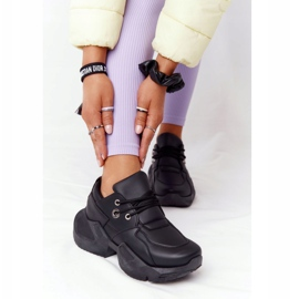 PS1 Damskie Sneakersy Na Masywnej Podeszwie Czarne Bubbly 4