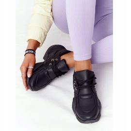 PS1 Damskie Sneakersy Na Masywnej Podeszwie Czarne Bubbly 2