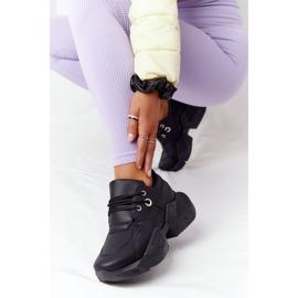 PS1 Damskie Sneakersy Na Masywnej Podeszwie Czarne Bubbly 3