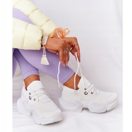 PS1 Damskie Sneakersy Na Masywnej Podeszwie Białe Bubbly 5