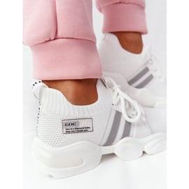 Damskie Sportowe Buty Skarpetkowe GOE HH2N4016 Białe czarne 6