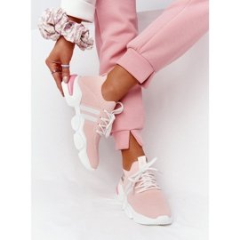 Damskie Sportowe Buty Skarpetkowe GOE HH2N4019 Różowe białe 5