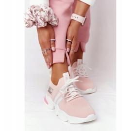 Damskie Sportowe Buty Skarpetkowe GOE HH2N4019 Różowe białe 2